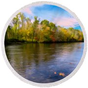 A Wide Scenic View Of Shetucket River. Round Beach Towel