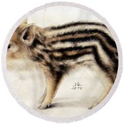 A Wild Boar Piglet Round Beach Towel by Hans Hoffmann