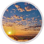 A Wildlife Paradise Marvel Sunrise Round Beach Towel
