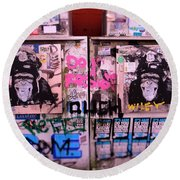 A Wiley The Monkey Mural In New York  Round Beach Towel