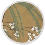 A Willow And Cherry Blossoms Round Beach Towel