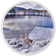 Round Beach Towel featuring the photograph A Winter Day On West Lake by David Patterson