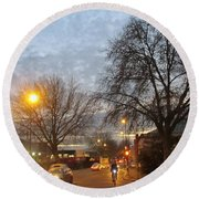 A Winter Evening  In 2015 At Park Royal - Northwest London Round Beach Towel