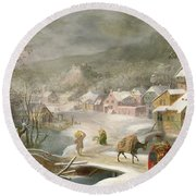 A Winter Landscape With Travellers On A Path Round Beach Towel by Denys van Alsloot