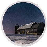 A Winter Night On The Farm Round Beach Towel