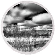 Round Beach Towel featuring the photograph A Winter Panorama by David Patterson