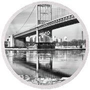 A Winter Portrait Of The Triboro Bridge Round Beach Towel