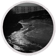 A Winter River Round Beach Towel