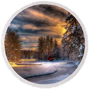 A Winter Sunset Round Beach Towel