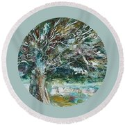 A Winter Tree Round Beach Towel by Mary Wolf