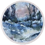 A Winter's Eve Round Beach Towel by Robin Miller-Bookhout