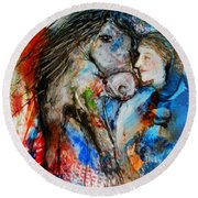 A Woman And Her Horse Round Beach Towel