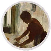 Round Beach Towel featuring the painting A Woman Ironing by Edgar Degas