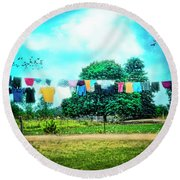 A Woman's Work Is Never Done Round Beach Towel by Tammy Wetzel