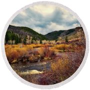 A Wyoming Autumn Day Round Beach Towel by L O C