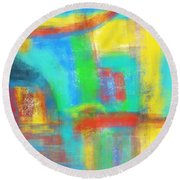 Round Beach Towel featuring the painting A Yellow Day by Susan Stone