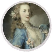 A Young Lady With A Parrot Round Beach Towel