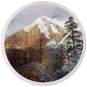 A Zion View Along The Trail Round Beach Towel by Daniel Woodrum