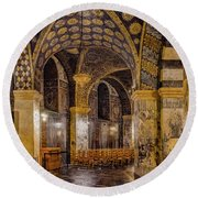 Round Beach Towel featuring the photograph Aachen, Germany - Cathedral Ambulatory by Mark Forte