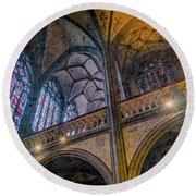 Round Beach Towel featuring the photograph Aachen, Germany - Cathedral - Nikolaus-michaels Chapel by Mark Forte