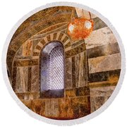 Round Beach Towel featuring the photograph Aachen, Germany - Cathedral - Upper Gallery by Mark Forte