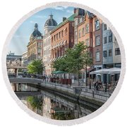 Round Beach Towel featuring the photograph Aarhus Afternoon Canal Scene by Antony McAulay