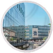 Round Beach Towel featuring the photograph Aarhus Lunchtime Canal Scene by Antony McAulay
