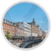 Round Beach Towel featuring the photograph Aarhus Summertime Canal Scene by Antony McAulay
