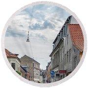 Round Beach Towel featuring the photograph Aarhus Urban Scene by Antony McAulay