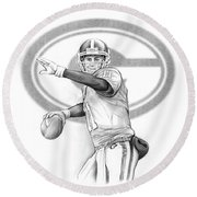 Aaron Murray Round Beach Towel by Greg Joens