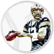 Aaron Rodgers Green Bay Packers Painted Round Beach Towel by David Haskett