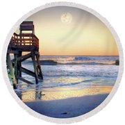 Ab Pier Moon2 Round Beach Towel