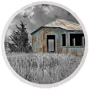 Abandon Railroad Shack Round Beach Towel