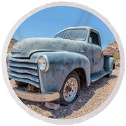 Abandoned Blue Chevy Pickup Truck In The Desert Round Beach Towel