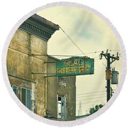 Round Beach Towel featuring the photograph Abandoned Building by Jill Battaglia