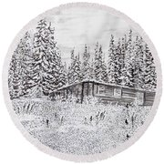 Abandoned Cabin Round Beach Towel