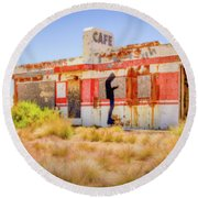 Abandoned Cafe Round Beach Towel by David Cote