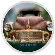 Round Beach Towel featuring the photograph Abandoned Car by Charuhas Images