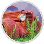 Abandoned Chrysler Truck Round Beach Towel by Marion Johnson