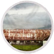 Abandoned Dairy Farm Round Beach Towel by Judy Wolinsky