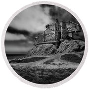 Abandoned Round Beach Towel by David Cote