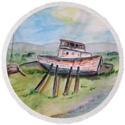 Abandoned Fishing Boat Round Beach Towel by Clyde J Kell