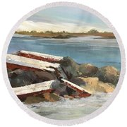 Round Beach Towel featuring the painting Abandoned by Helen Harris