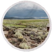 Abandoned Homestead Round Beach Towel by Melany Sarafis