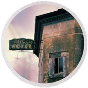 Round Beach Towel featuring the photograph Abandoned Hotel by Jill Battaglia