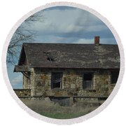 Round Beach Towel featuring the photograph Abandoned Kansas Stone House by Mark McReynolds