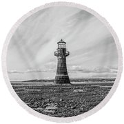 Round Beach Towel featuring the photograph Abandoned Light House Whiteford by Edward Fielding