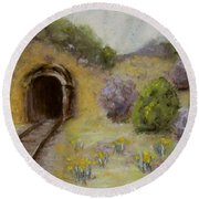 Abandoned Mine Round Beach Towel by Laurie Morgan