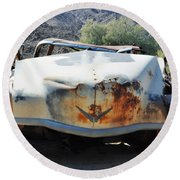 Round Beach Towel featuring the photograph Abandoned Mojave Auto by Kyle Hanson