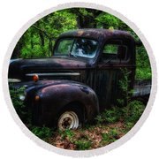 Abandoned - Old Ford Truck Round Beach Towel